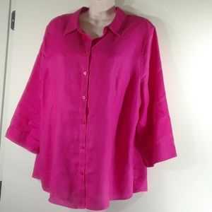 Chico's pink no wrinkle linen button blouse XL